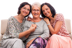 Happy family women senior mother embrace Royalty Free Stock Images