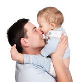 Happy father with a baby isolated on a white Stock Image