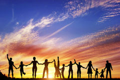 Happy group of diverse people, friends, family together Stock Images