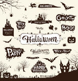 Happy Halloween day silhouette collections Stock Photo
