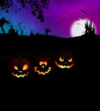 Happy Halloween Scary Night Party Concept with Pumpkins Royalty Free Stock Photography