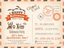 Happy Halloween Vintage Postcard invitation background design Stock Image