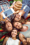 Happy hipsters having fun on campsite Royalty Free Stock Photography
