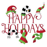 Happy Holidays with hats and scarves Stock Images