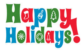 Happy Holidays with Icons Royalty Free Stock Image