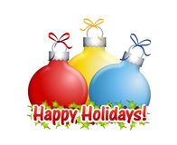 Happy Holidays Ornaments Royalty Free Stock Images