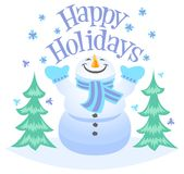 Happy Holidays Snowman Royalty Free Stock Photo