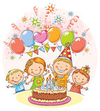 Happy Kids at the Birthday Party Royalty Free Stock Photo
