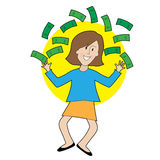 Happy Lady and Money Royalty Free Stock Images