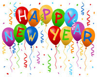 Happy New Year Balloons Banner Stock Photos