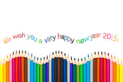 Happy new year 2015 greeting card , colorful pencils Royalty Free Stock Photo