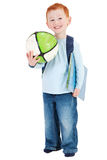 Happy smiling boy child with school bag book ball Stock Image