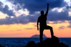 Happy success winner, life goal achievement Stock Photo