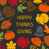 Happy Thanksgiving Day card design with holiday Royalty Free Stock Photos