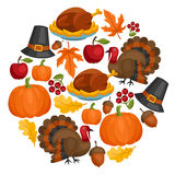 Happy Thanksgiving Day card design with holiday Royalty Free Stock Images