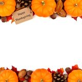 Happy Thanksgiving tag with autumn double border over white Stock Image