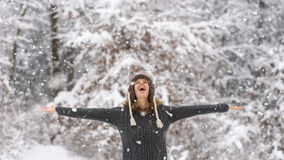 Happy vivacious woman celebrating the snow Stock Images