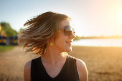 Happy woman, beach Royalty Free Stock Photography