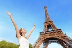 Happy woman tourist in Paris Royalty Free Stock Photo