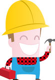 Happy worker with hammer Stock Photos