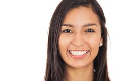 Happy young woman with perfect smile isolated white background Stock Images