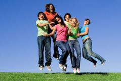 Happy youth group jumping Stock Photography
