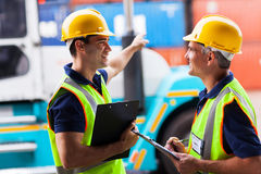 Harbor workers forklift Royalty Free Stock Photos