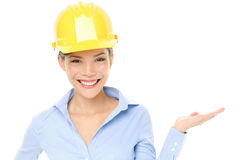 Hard hat engineer or architect woman showing Royalty Free Stock Image
