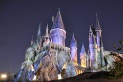Harry Potter Castle in Universeel Orlando bij nacht Royalty-vrije Stock Fotografie