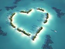 Hart gevormd eiland Royalty-vrije Stock Afbeeldingen