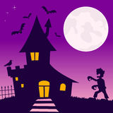 Haunted House with Zombie Stock Photo