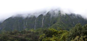 Hawaii Scenery: Rainy Season Mountain Waterfalls Royalty Free Stock Image