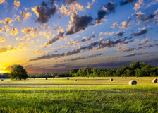 Hay Bales at Sunrise Royalty Free Stock Images