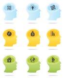 Head profiles with idea symbols  Royalty Free Stock Photography