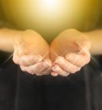 Healer with Golden Healing Orb Energy Stock Photo