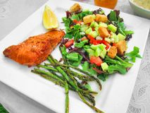 Healthy meal dinner lunch fish veggies Stock Photo