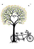 Heart tree with birds and bicycle, vector Royalty Free Stock Photo