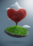 Heart tree on suspended rock Stock Images
