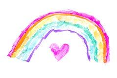 Heart under rainbow Royalty Free Stock Photos