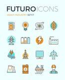 Heavy industry futuro line icons Stock Photos