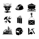 Heavy industry or metallurgy icons set Stock Images