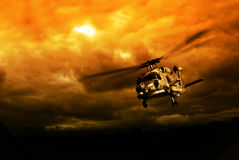 Helicopter in mission Royalty Free Stock Images