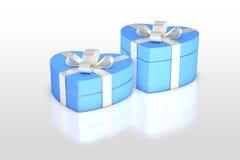 Hellblaue Geschenkbox in der Herzform Stockfotografie