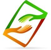 Helping hands logo Stock Photo