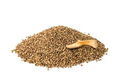 Hemp seeds with spoon Royalty Free Stock Photography