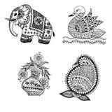 Henna Mehndi Doodle Paisley Design Elements Royalty Free Stock Photography