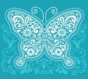 Henna Mehndi Paisley Butterfly Doodle Design Stock Image