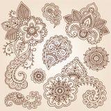 Henna Mehndi Tattoo Paisley Doodles Vector Stock Images