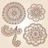 Henna Tattoo Flower Mandala Doodle Vector Designs Stock Photography