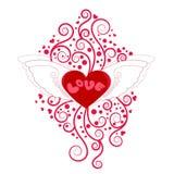 Herz mit Flügeln mit Blumendekoration Lizenzfreie Stockfotos